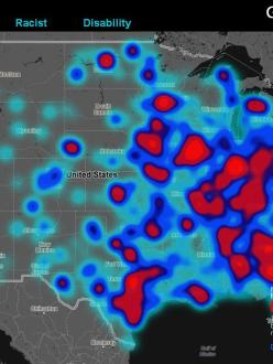 """Geography of Hate"" map showing concentrations of hate-based tweets on Twitter from June 2012 to April 2013. (source: Floating Sheep)"