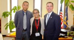 Harneet Gulati (middle) with New York State Senator Jack Martins (right). (Photo source: NY Senator Jack Martins website)