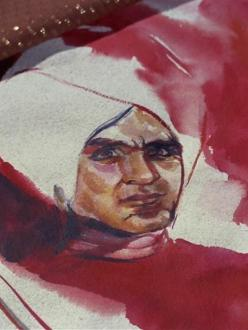 "A watercolor painting of the Star Trek character Khan Noonien Singh that appeared in the original series episode ""Space Seed"" in 1967. (source: Wikia Expert Showcase)"