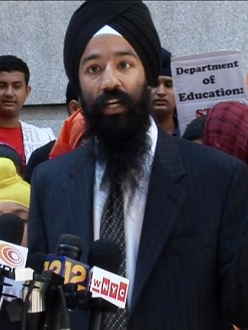Sonny Singh at a rally in New York. (Source: with WINGS and ROOTS)