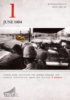 A graphic by the National Sikh Youth Federation in the United Kingdom describes the initiating events during the Indian government's attack on Darbar Sahib (aka the Golden Temple) in June 1984, resulting in thousands of civilian deaths. (Source: NSYF)