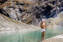"""A Sikh boy stands on the water's edge [at Hemkund Sahib]. It's estimated that upward of 150,000 people make it to Hemkund each year."" (Photo credit: Michael Benanav 