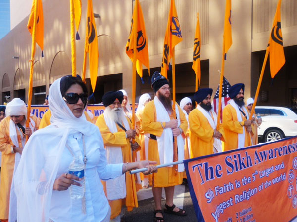 """A scene of the procession of the [Sikh] parade held in downtown Phoenix on April 21st."" (Source: Valley India Times)"
