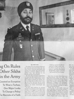 Major Kamaljeet Singh Kalsi is featured by The New York Times in a story about Sikhs joining the US military. (Photo: Richard Perry | The New York Times. Source: Sikh Coalition)