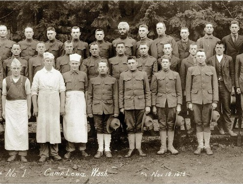Bhagat Singh Thind as a member of Company No. 2, Development Battalion No. 1, 166th Depot Brigade, of Camp Lewis in Astoria, Oregon. (Source: bhagatsinghthind.com)
