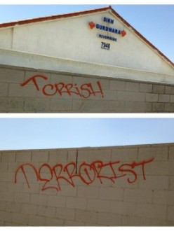 Graffiti spray-painted on the walls of the Gurdwara in Jurupa Valley, CA. (Source: Sikh24)