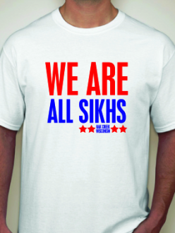 """We are all Sikhs"" t-shirt. (Source: Rootsgear Clothing)"