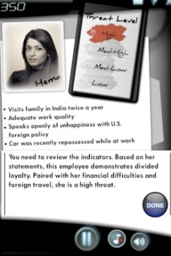 """Slide from a security training test used by the US Defense Department and other agencies showing the hypothetical Indian American woman named """"Hema."""" (Source: The Huffington Post)"""