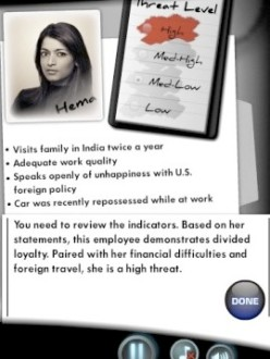 "Slide from a security training test used by the US Defense Department and other agencies showing the hypothetical Indian American woman named ""Hema."" (Source: The Huffington Post)"