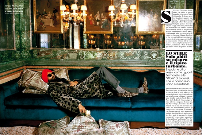 Waris Ahluwalia appears in an article in Vogue Italy's July-August edition. (Source: Vogue Italy)