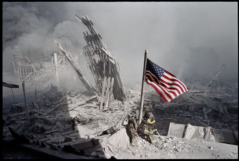 The US flag is raised in the aftermath of the 9/11 attacks in 2001. (Source: Martin Ramirez)