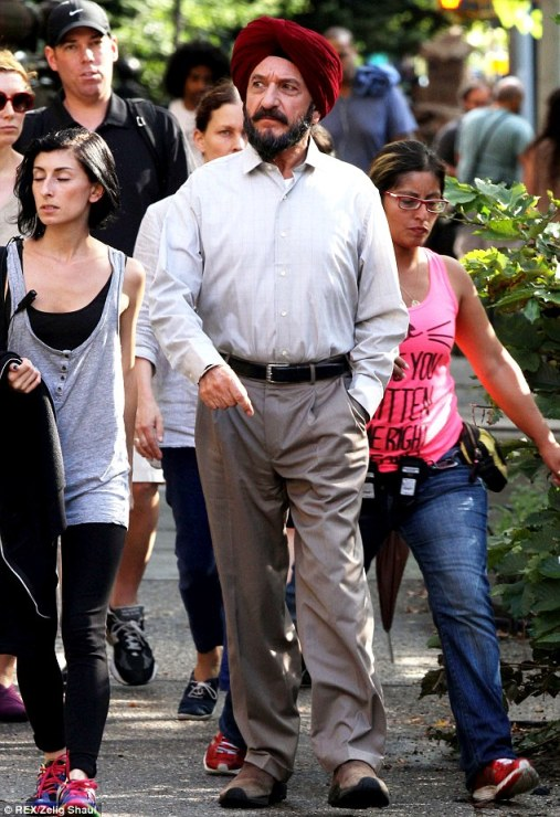 """Actor Sir Ben Kingsley on the set of the forthcoming film """"Learning to Drive"""" in Brooklyn, New York. (Source: The Daily Mail)"""