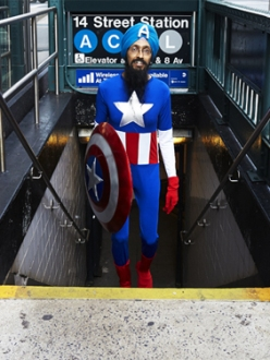 Vishavjit Singh dressed as comic book hero Captain America. (Photo. Fiona Aboud. Source: Salon)