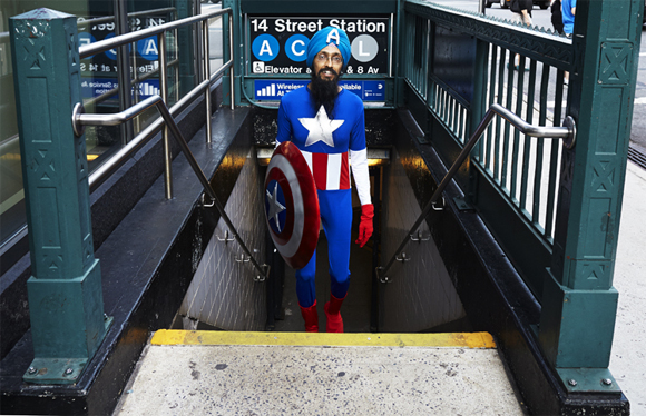 Vishavjit Singh dressed as comic book hero Captain America. (Photo. Fiona Aboud. Source: Salon.)