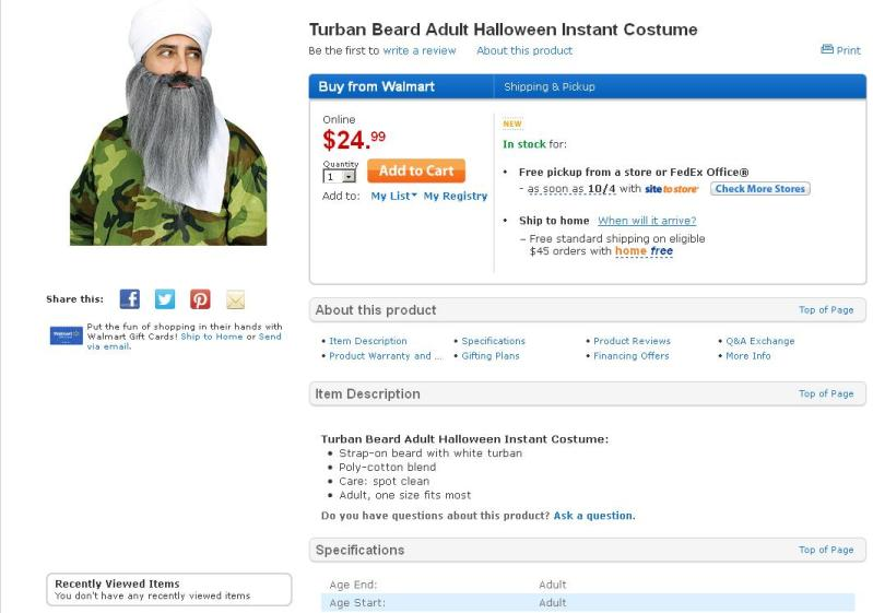 Screen shot of Walmart's website taken on September 27, 2013, in which they are selling a Halloween costume that includes a turban and beard on a man wearing military-style clothing. (Source: Walmart)