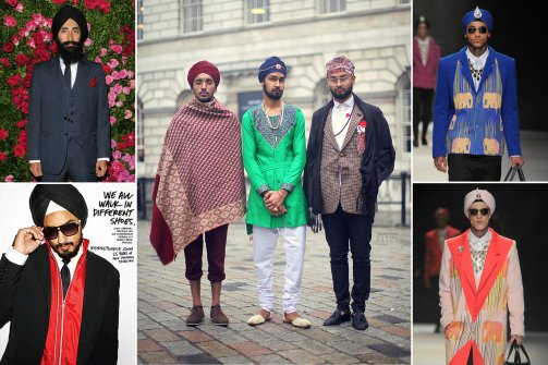 Clockwise from top left: actor and designer Waris Ahluwalia at a 2012 Chanel event; guests at London fashion week; Fall 2013 collection from Jeetinder Sandhu; Kenneth Cole's 2008 ad campaign feat. Sonny Caberwal. (Getty; Jonathan Daniel Pryce/GarconJon.com; Courtesy Jeetinder Sandhu; Courtesy Kenneth Cole. Source: The Daily Beast)