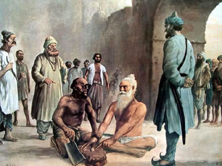 Depiction of the execution of Bhai Mani Singh in 1737.