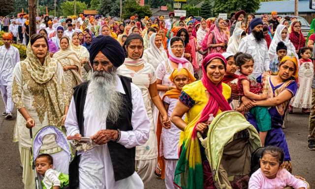 """Sikh residents take part in a June 2013 parade in Salem, Oregon. Credit: Creative Commons/PhotoAtelier."" (Source: Tikkun)"