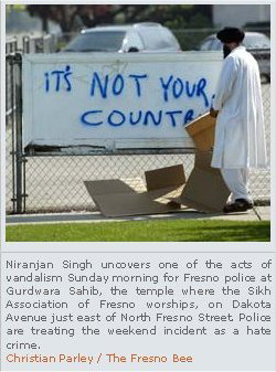 A Gurdwara in Fresno, California, was vandalized with bigoted graffiti in 2004. (Source: RealSikhism)