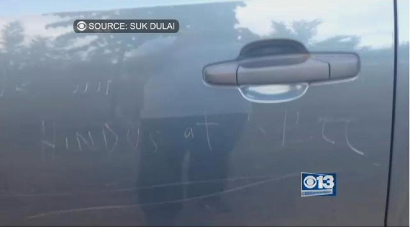 Vandals carve 'We Want No Hindus At SBLL' into Sikh little league coach's truck in Yuba City, California. (Source: CBS Sacramento)