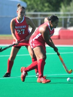 """""""Freshman back Sofia Walia is one of two Sikh players on the Knights' roster this season. She has nine points for Rutgers."""" (Photo: Tian Li 