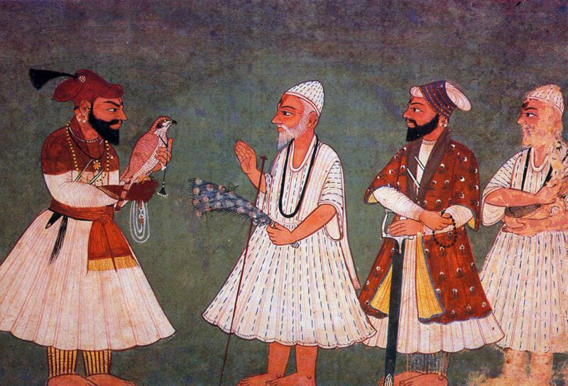 """Guru Gobind Singh (with bird) encounters Guru Nanak Dev. An 18th century painting of an imaginary meeting."" (Source: Wikipedia)"