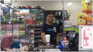 Gurpinder Singh offers free coffee at the East Side Food Mart in Fort Wayne, Indiana during the Six Days of Seva (photo by Lori Way).