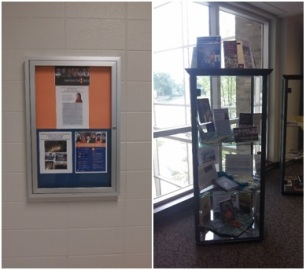 Library displays at Ivy Tech Community College (left) and the University of Saint Francis in Fort Wayne, IN (photos by Lori Way).