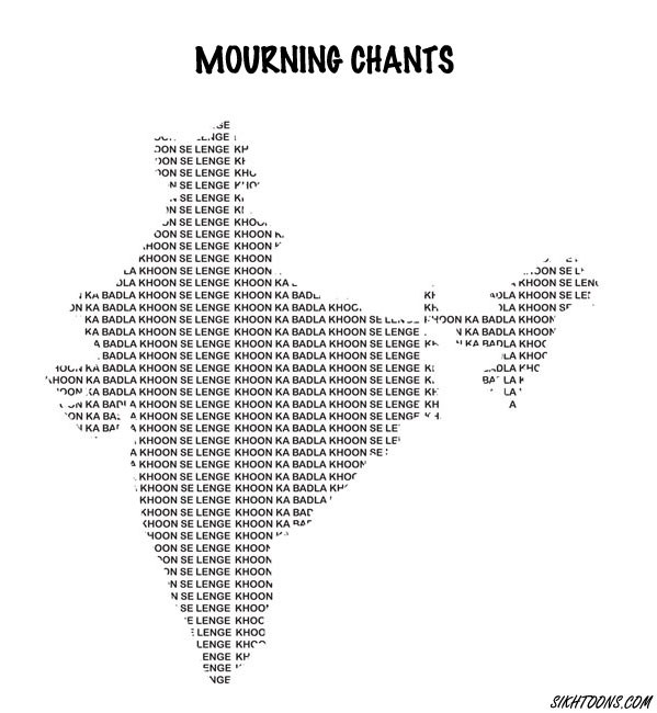 """Mourning Chants"" by cartoonist Vishavjit Singh. (Source: sikhtoons.com)"