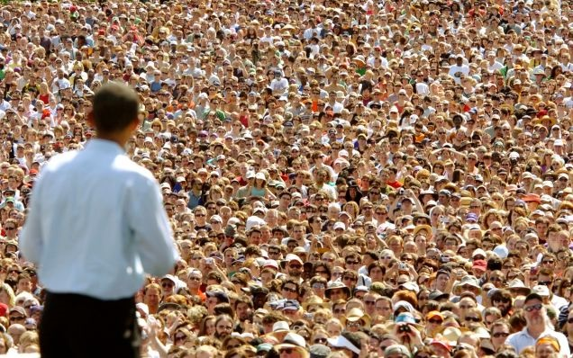"""Senator Barack Obama looks out to a sea of supporters in Portland on May 18, 2008 (AP)."" (Source: Gizmodo.)"