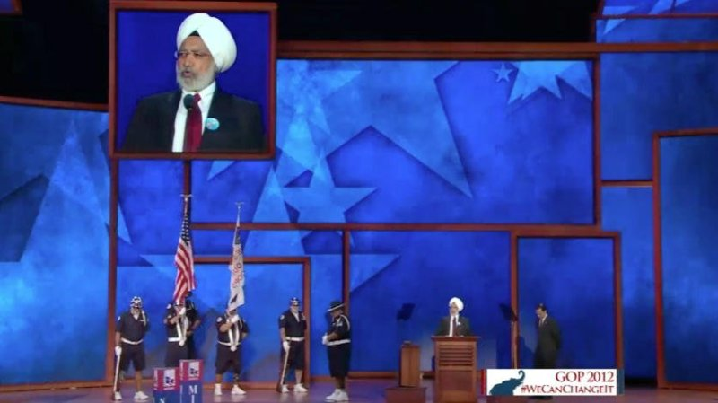 Ishwar Singh provides Invocation at Republican National Convention in 2012. (Source: Twitter user @duvachristopher)