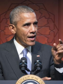 """President Barack Obama speaks to members of the Muslim-American community at the Islamic Society of Baltimore."" (Source: ThinkProgress.org)"