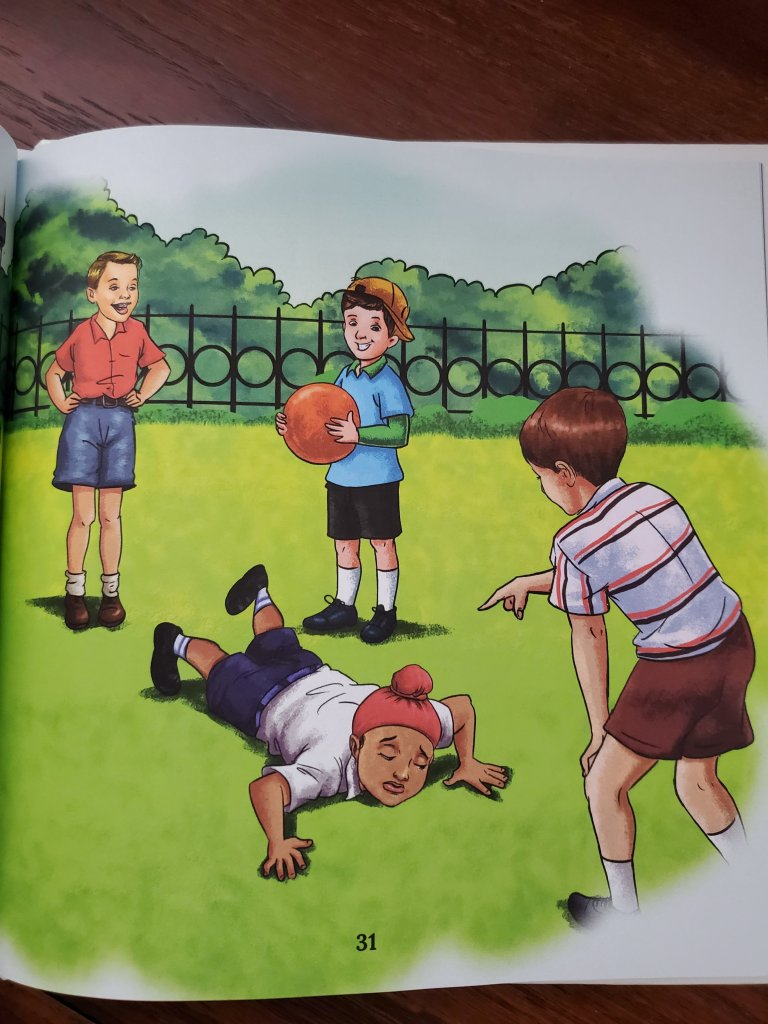Image of a scene in the book of a Sikh boy being teased by other boys.